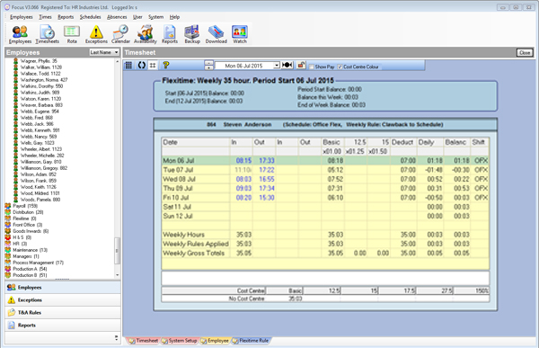Timesheet with flexitime 21